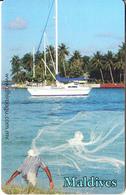 MALDIVES ISL.(chip) - Fisherman And Sailboat, CN : 0267, Used - Maldives