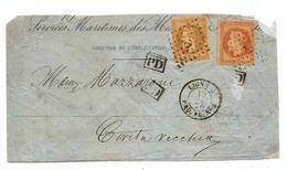 """- MARITIME -  Oblitération ANCRE S/TP Napoleon Lauré N°28 + N°31 - Ligne U - """"PD"""" Noir - 1870 - 1863-1870 Napoléon III Con Laureles"""
