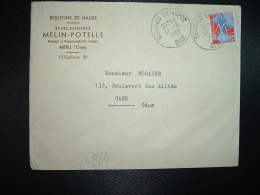 LETTRE TP MARIANNE A LA NEF 0,25 OBL.31-8 1960 BEAUVAIS ENTREPOT OISE (60) Ets MELIN POTELLE MERU BOUTONS DE NACRE - Marcophilie (Lettres)