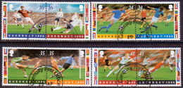 GUERNSEY 1996 SG 696-703 Compl.set In Four Horiz.pairs Used European Football Championship - Guernsey