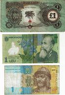 Biafra 1968 1 Pound , Romania 2005 1 Leu , Ukraine 2014 1 Hryvnia , Used - Kiloware - Banknoten