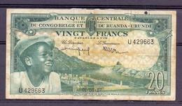 Belgian Congo Kongo 20 Fr 1957  Fine - Congo