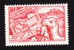 Fezzan, Scott #1N12, Mint Never Hinged, Map, Soldier, Camel, Issued 1946 - Unused Stamps