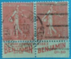 France 1924  : Type Semeuse Lignée Provenant De Carnet Avec Bande Publicitaire N° 199a Oblitéré - Advertising