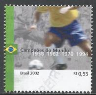 Brazil 2002. Scott #2840b (U) World Cup Soccer Championships, Years Of Brazilian Championships * - Brésil