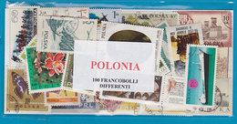 POLONIA, LOTTO DI 100 FRANCOBOLLI USATI LAVATI TUTTI DIFFERENTI - Francobolli