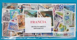 FRANCIA, LOTTO DI 100 FRANCOBOLLI USATI LAVATI TUTTI DIFFERENTI - Francobolli