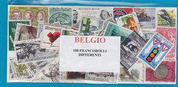 BELGIO, LOTTO DI 100 FRANCOBOLLI USATI LAVATI TUTTI DIFFERENTI - Francobolli