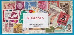 ROMANIA, LOTTO DI 100 FRANCOBOLLI USATI LAVATI TUTTI DIFFERENTI - Francobolli