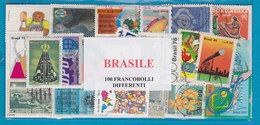 BRASILE , LOTTO DI 100 FRANCOBOLLI USATI LAVATI TUTTI DIFFERENTI - Lots & Kiloware (mixtures) - Max. 999 Stamps