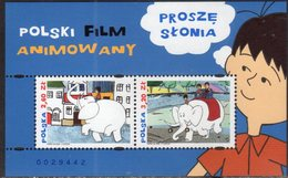POLAND, 2018, MNH, POLISH ANIMATED FILMS, CARTOONS, ELEPHANTS, S/SHEET - Childhood & Youth