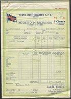 BILLET DE CROISIERE 1ère CLASSE MEDITERRANEE 1949 - Europa