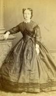 France Lille Mme Valandrey Femme Mode Second Empire Ancienne Photo CDV Leblondel 1865 - Photographs