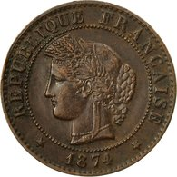 Monnaie, France, Cérès, Centime, 1874, Paris, TTB, Bronze, KM:826.1 - A. 1 Centime