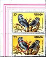 BIRDS-OWLS- NORTHERN WHITE FACED OWL -J J AUDUBON-CORNER PAIR-RWANDA-1985-MNH-H1-531 - Owls
