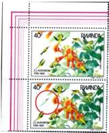 BIRDS-HUMMINBIRDS - RUBY THROATED HUMMINGBIRD- J J AUDUBON-CORNER PAIR-RWANDA-1985-MNH-H1-531 - Hummingbirds