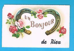 D04.  UN BONJOUR DE RIEZ. FLEUR. FER A CHEVAL. - France