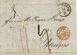 1852- Letter From OSNABRUCK To Reims ( France )  Back,transit Postmarks Munster And Deutz-Hamm - Sachsen