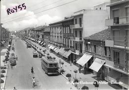 Marche-macerata-porto Civitanova Corso Umberto Veduta Negozi Vari Hotel Persone Filobus Camion Gelati Auto Epoca Anni 50 - Italien