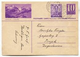 Arolla - Valais, Switzerland, Old Postal Stationery 1936. Traveled To Osijek Croatia - Briefe U. Dokumente
