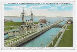 "U.S.S. ""Kansas"" In Upper East Chamber, Gatun Locks, Panama Canal - Panama"