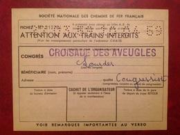 SNCF Congrès Croisade Des Aveugles Lourdes - Autres