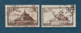 France Timbres De 1929/31 N°260 Et 260a  Type I Et II   Oblitérés - France