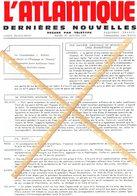 PAQUEBOT FRANCE JOURNAL L'ATLANTIQUE DU 1 JANVIER 1974 COMMANDANT NADAL JEAN - Vecchi Documenti