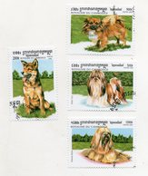 """CAMBOGIA - 1999 - Lotto Di 4 Francobolli Tematica """" Animali - Cani """" - Usati -  (FDC11450) - Cambogia"""