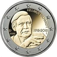 "Alemania 2€ 2.018 ""Centenario Del Nacimiento De Helmut Schmidt"" 5 CECAS  A J F G D   SC/UNC  T-DL-12.236 - Alemania"