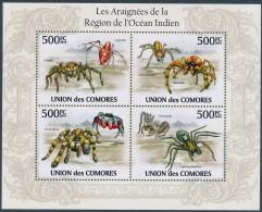 D- [38076] **/Mnh-Comores 2009 - N° 1971/1974, Bloc, Faune, Araignées De L'océean Indien. - Araignées