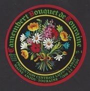Etiquette De Fromage Camembert -  Bouquet De Touraine -  Centrale Laitière Clamat  à  Pernay  (37 I)  -  Thème Fleurs - Cheese