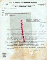 87- LIMOGES- FACTURE ETS. MASMONDEIX-FOURNITURES GENERALES ELECTRICITE-60 AVENUE GARIBALDI-MINES ST LEONARD NOBLAT-1952 - Electricity & Gas