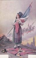 Jeune Femme Et Le Drapeau Français Sur Son Coeur - War 1914-18