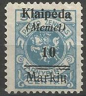 Klaipeda (Memel) - 1923 Lithuania Overprint (2nd Print Lower Case) 10m/5c Unused No Gum     Mi 129 - Memel (1920-1924)