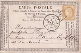 FRANCE 1875 ENTIER POSTAL CARTE PRECURSEUR DE LILLE - Ganzsachen
