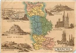 50 , Chromo , Carte Départementale De La Manche ,  + Descriptif Au Dos , * 323 00 - Unclassified