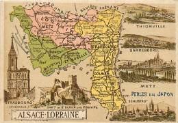 57 , Chromo , Carte Départementale De L' Alsace Lorraine ,  + Pub Perle Du Japon Au Dos , * 323 03 - France