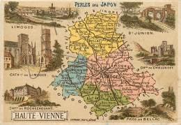 87 , Chromo , Carte Départementale De La Haute Vienne ,  + Pub Perle Du Japon Au Dos , * 323 10 - Non Classés