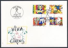Switzerland Schweiz Suisse 1992 FDC + Mi 1478 /81 Sc 920 /3 - Circus / Zirkuswelt / Cirque : Clowns, Harlequin - Circus