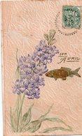 1er Avril 1907 Fleurs Dorure Gaufrée - 1er Avril - Poisson D'avril