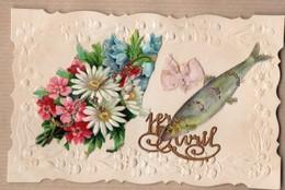 1er Avril Poisson - Fleurs (déchiré) - Noeud Tissus  1913 Gaufrée Relief Bords Dentelées Paillettes - 1er Avril - Poisson D'avril