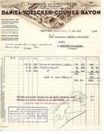Facture 1936 / Meurthe Et Moselle / BAYON / D. VOELCKER / Fabrique De Chicorée / 67 BENFELD - Francia