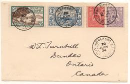Lettre De Hienghène Pour Le Canada De 1934 Avec 4 T  Dont 1F Voilier Cote Mini 125 €; - Briefe U. Dokumente