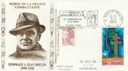 Hommage à JEAN MOULIN - Enveloppe Commémorative - METZ (57)  1983 - Oblitérations Mécaniques (flammes)
