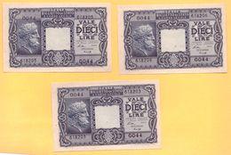 Lire 10 1944 Luogotenenza FDS - Pick 32a  - Ventura, Simoneschi, Giovinco - - [ 1] …-1946 : Regno