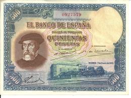 Rare Billete  Billet 500 Pesetas 1935 Hernan Cortes N° 0927579 Quinientas Pesetas Espagne Espana - 500 Peseten
