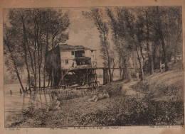 Gennevilliers   Ile St Ouen  Le Moulin De La Cage (en Amont)  Gravure 1869  30x22cm  Collé Sur Cartonnage - Estampas & Grabados