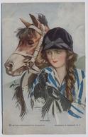 Harrison Fisher WINNERS Woman In Riding Hat Beside Horse 1917y. E883 - Illustratori & Fotografie