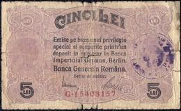 "Romania, 5 Lei 1917 ""F"" Banknote Overprint - RARE - German Occupation WW1 - Romania"